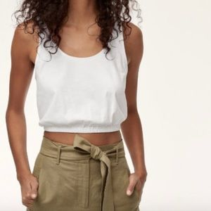 Aritzia Wilfred White Piaf Tank Crop Top